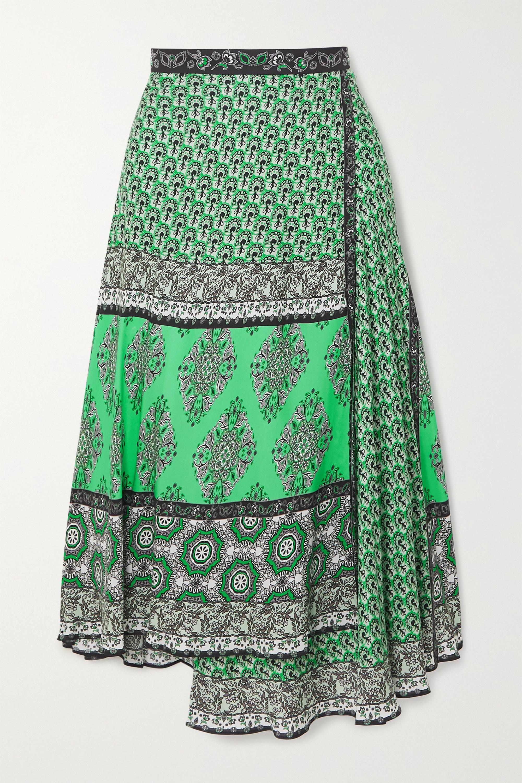 Alice + Olivia Nanette wrap-effect printed crepe midi skirt