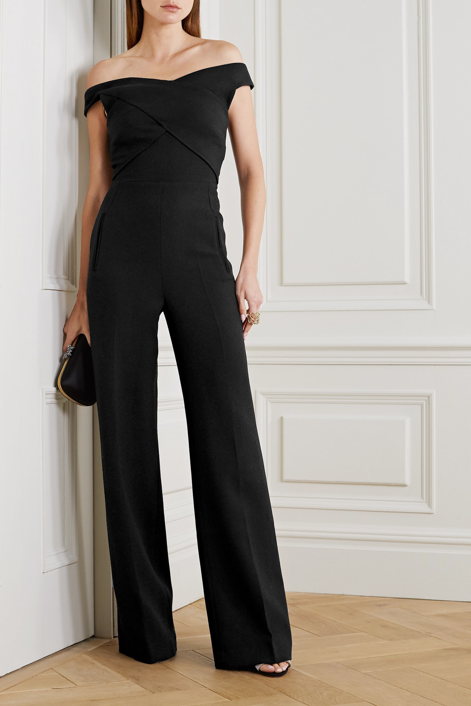 Roland Mouret Harran off-the-shoulder pleated wool-crepe jumpsuit