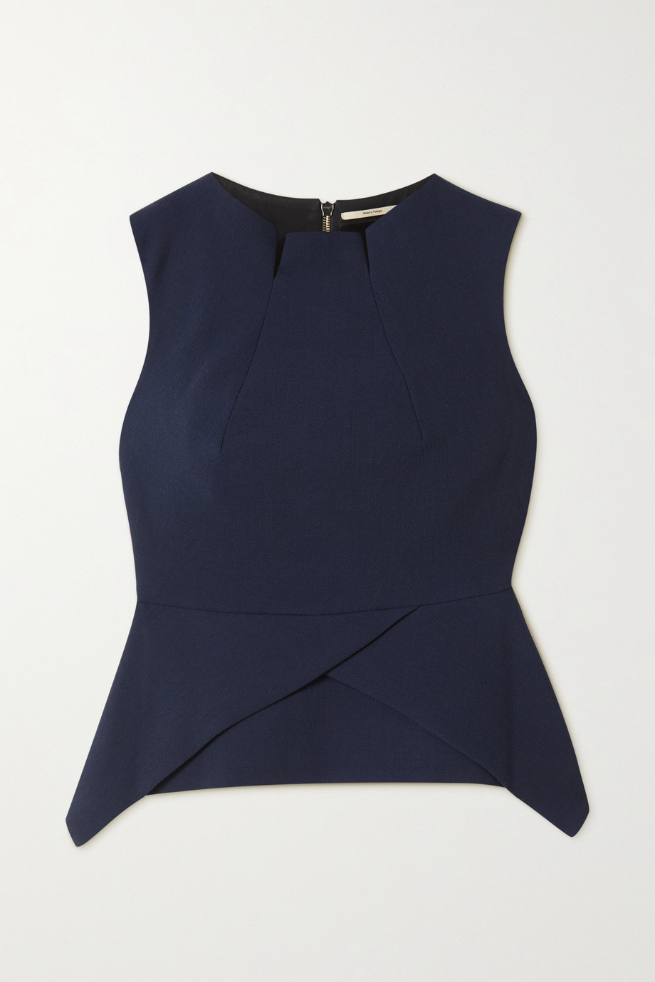 Roland Mouret Wynn asymmetric wool-crepe peplum top