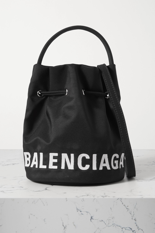 Balenciaga Wheel embroidered canvas bucket bag