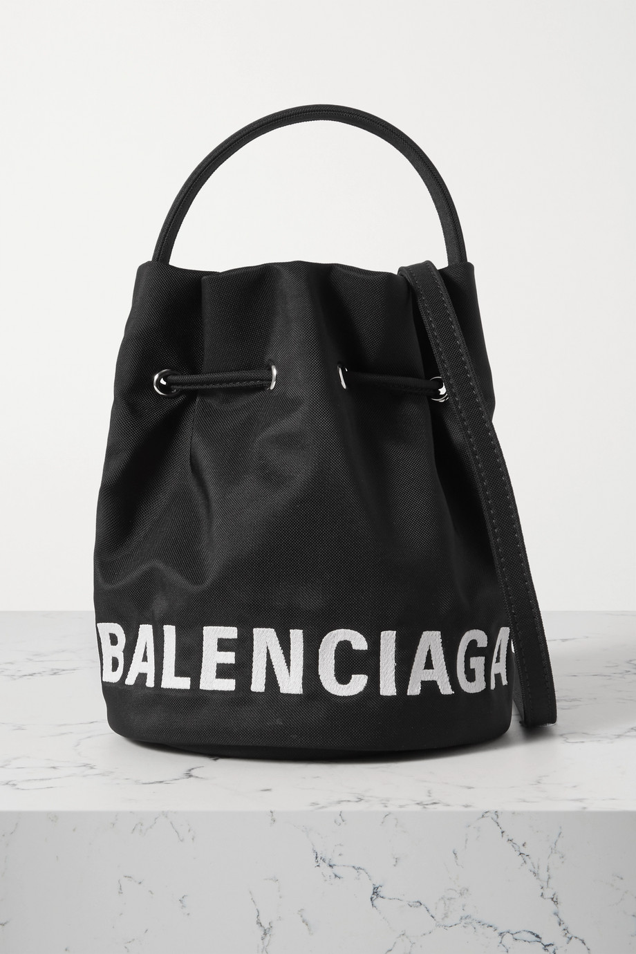 Balenciaga Wheel embroidered canvas bucket bag