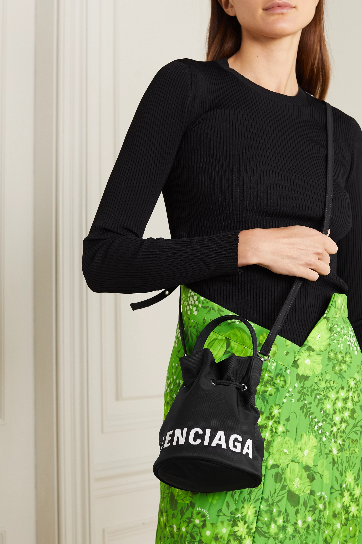 Black Wheel Embroidered Canvas Bucket Bag Balenciaga Net A Porter