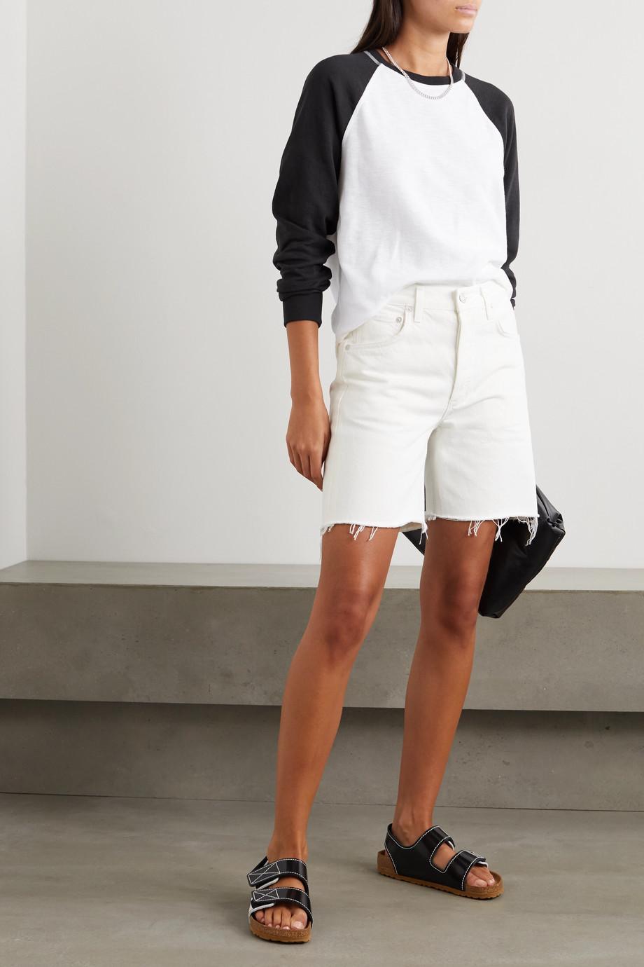 rag & bone Haut en jersey de coton mélangé côtelé bicolore