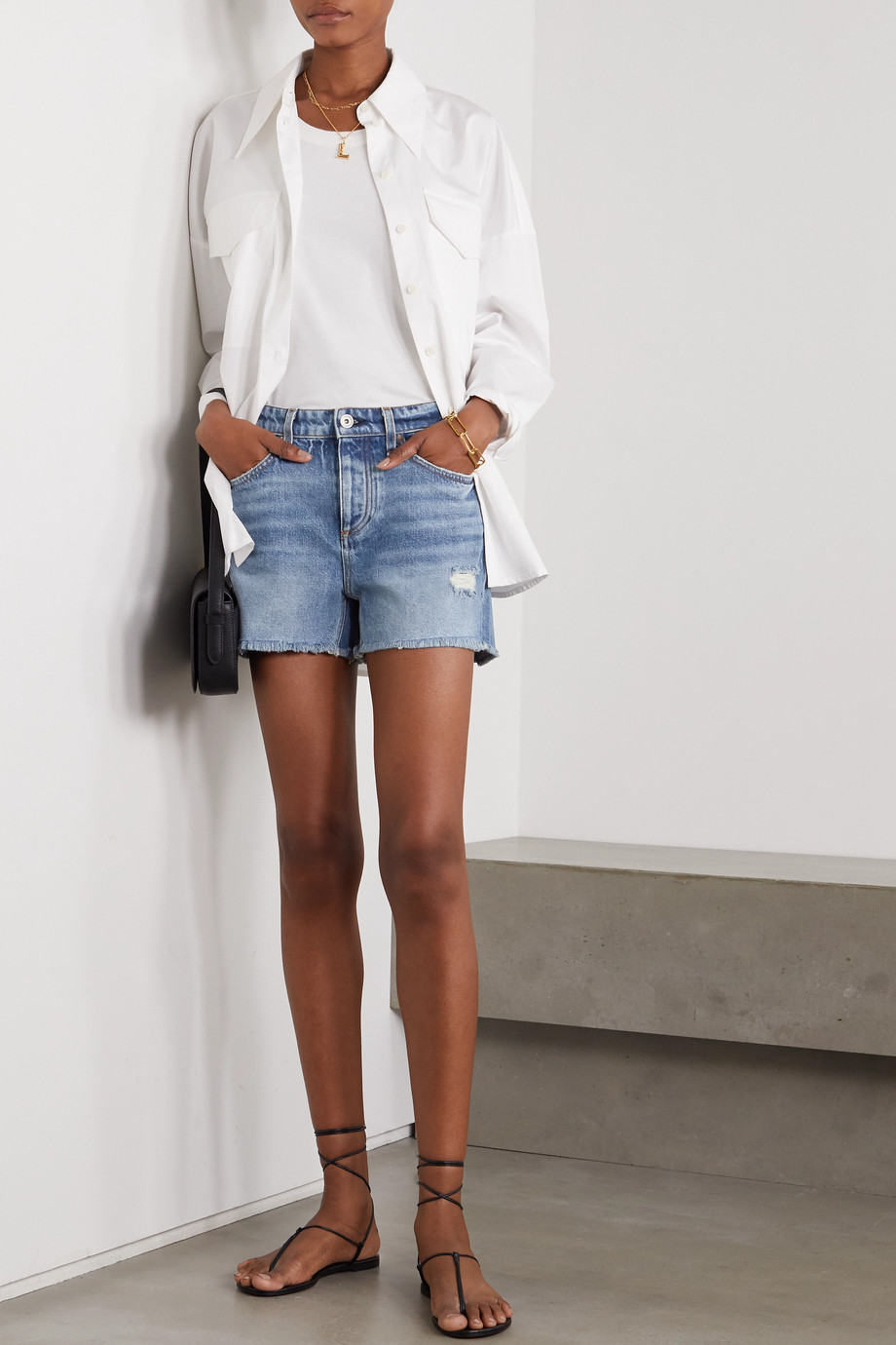 rag & bone Dre Jeansshorts in Distressed-Optik