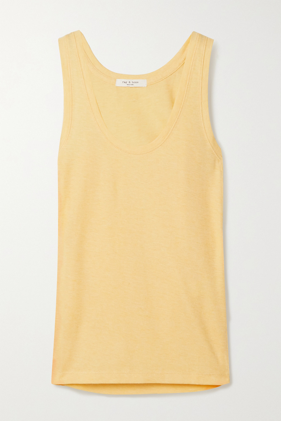 랙앤본 Rag & Bone Ribbed cotton and modal-blend tank,Pastel yellow
