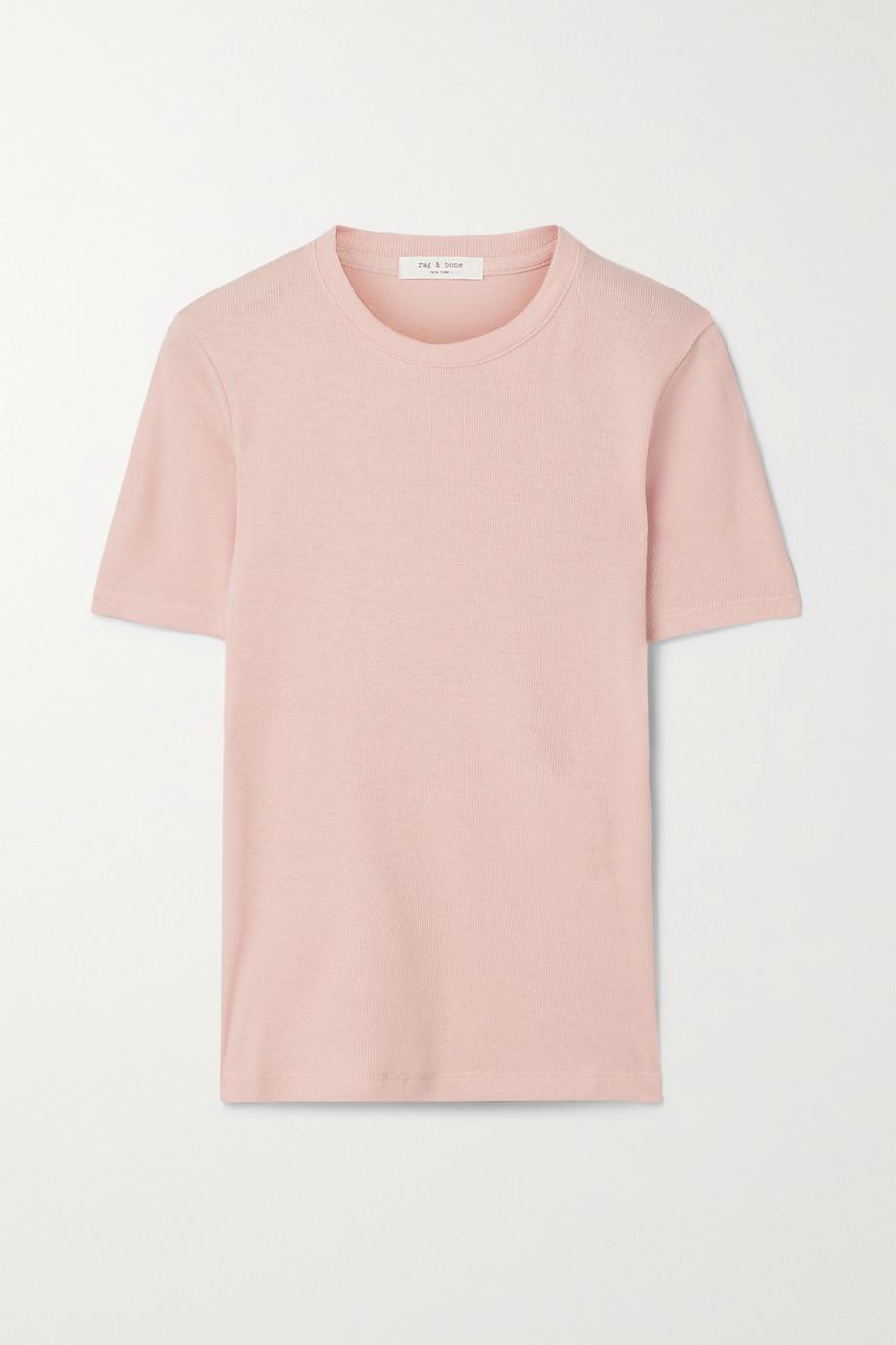 rag & bone T-shirt en coton et modal mélangés côtelés