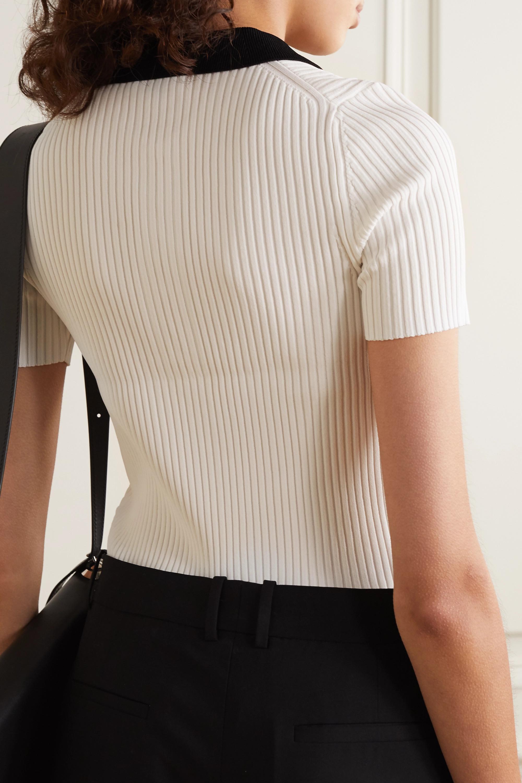 rag & bone Cadee two-tone ribbed-knit polo shirt