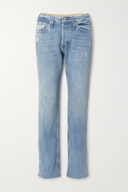 rag & bone Rosa distressed mid-rise straight-leg jeans
