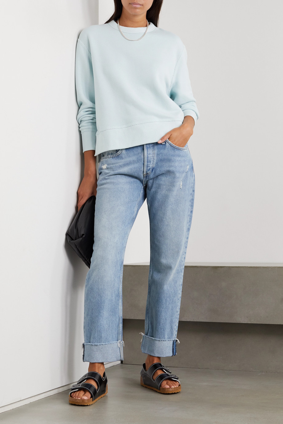 rag & bone Rosa halbhohe Jeans mit geradem Bein in Distressed-Optik