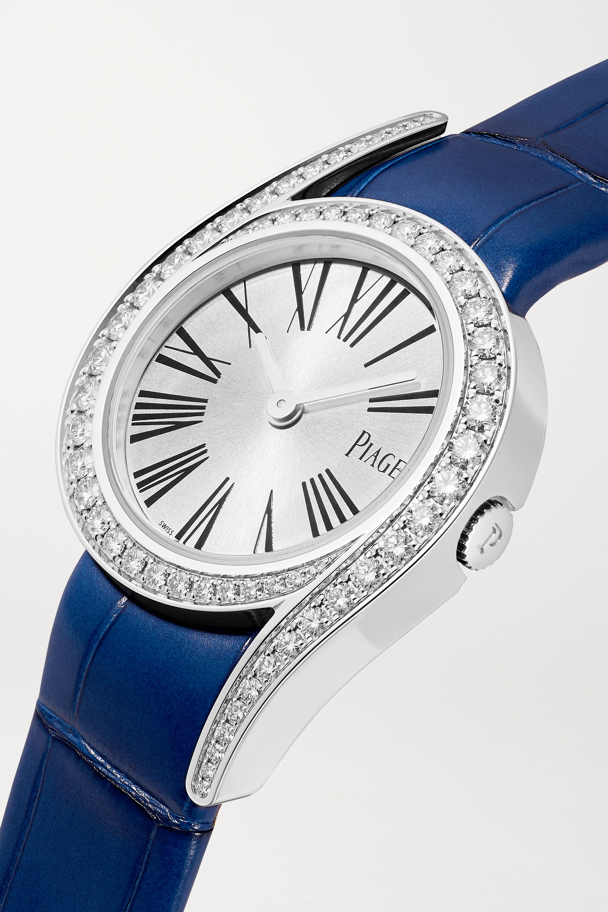 Piaget Montre en or blanc 18 carats et diamants à bracelet en alligator Limelight Gala 26 mm