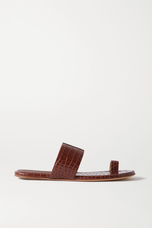 Gabriela Hearst Croc-effect glossed-leather sandals