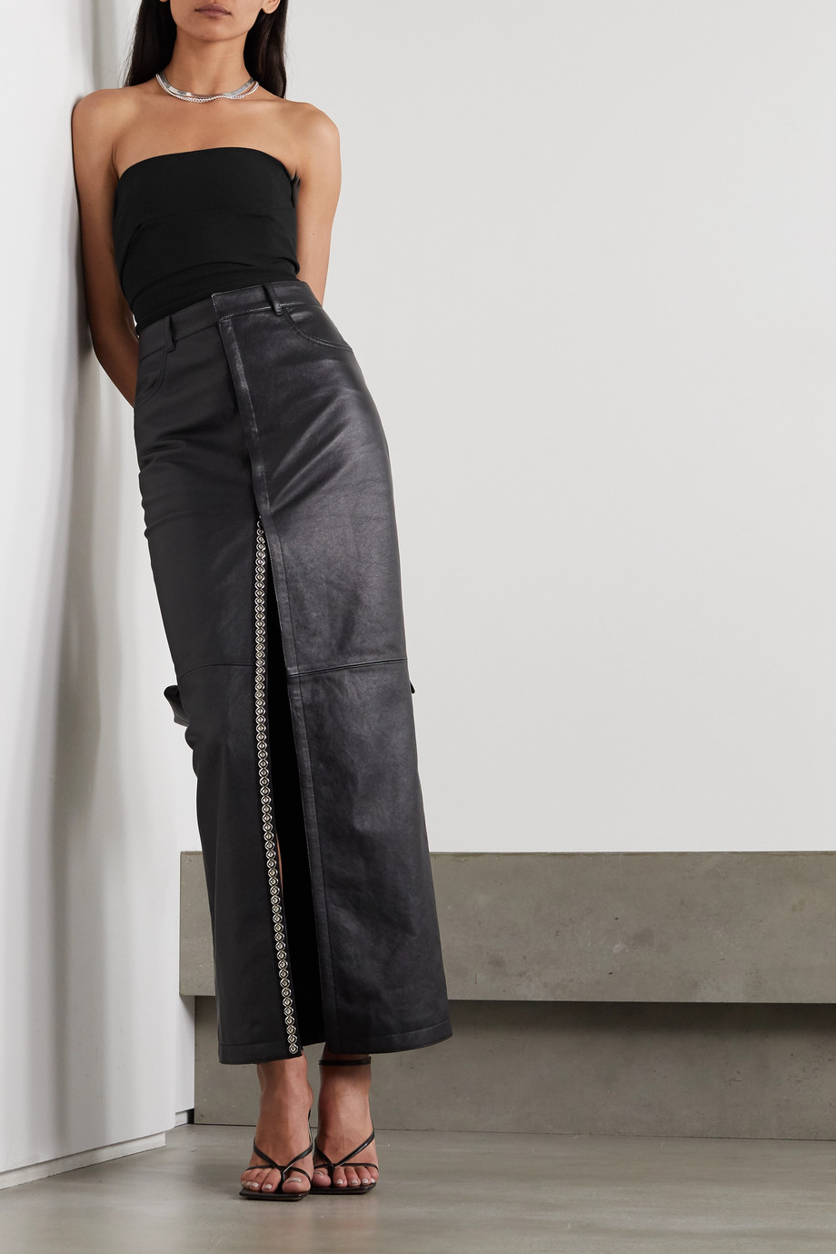 Rick Owens Strapless cotton-blend crepe top
