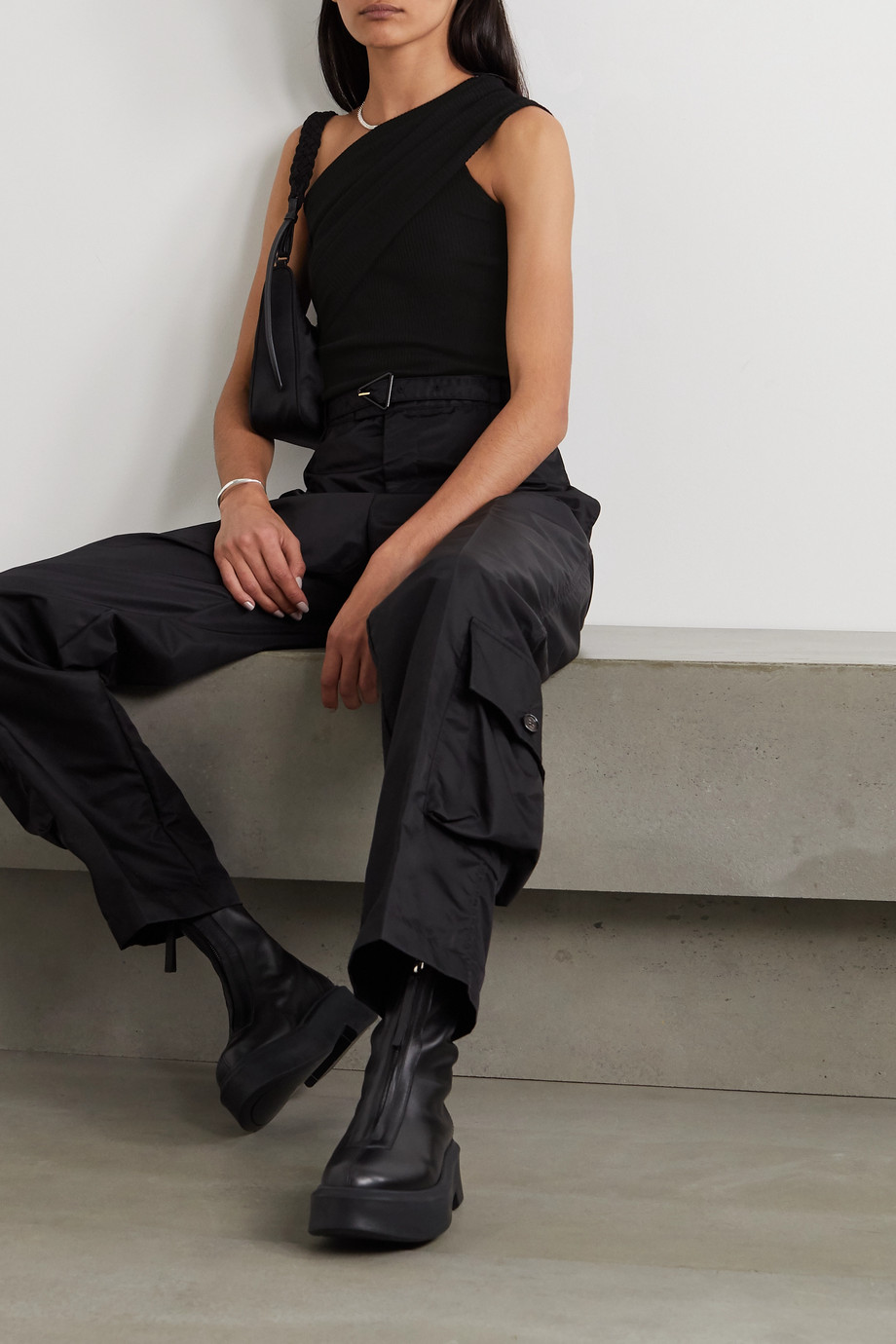 Rick Owens One-shoulder ribbed wool top