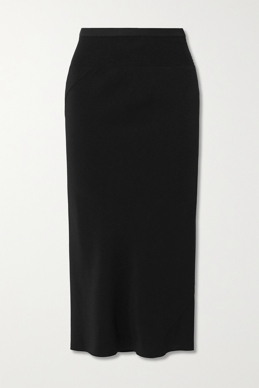 Rick Owens Gonna asymmetric ribbed cotton blend-trimmed jersey skirt