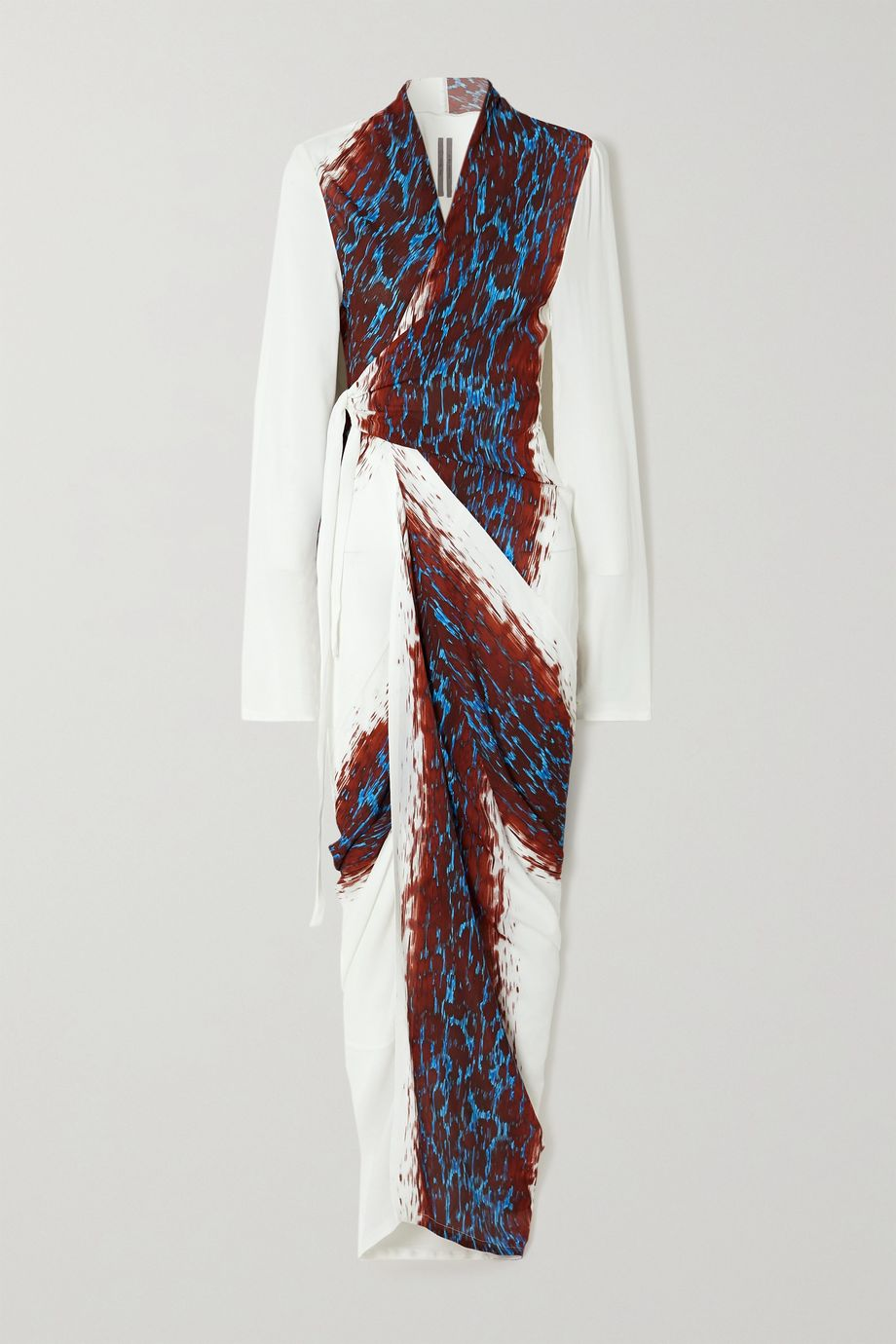 Rick Owens Printed crepe maxi wrap dress
