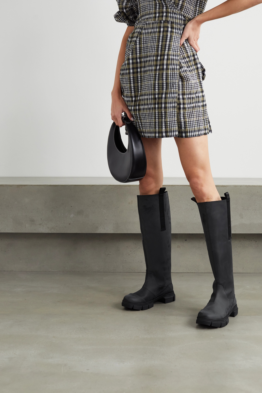 GANNI Grosgrain-trimmed rubber knee boots
