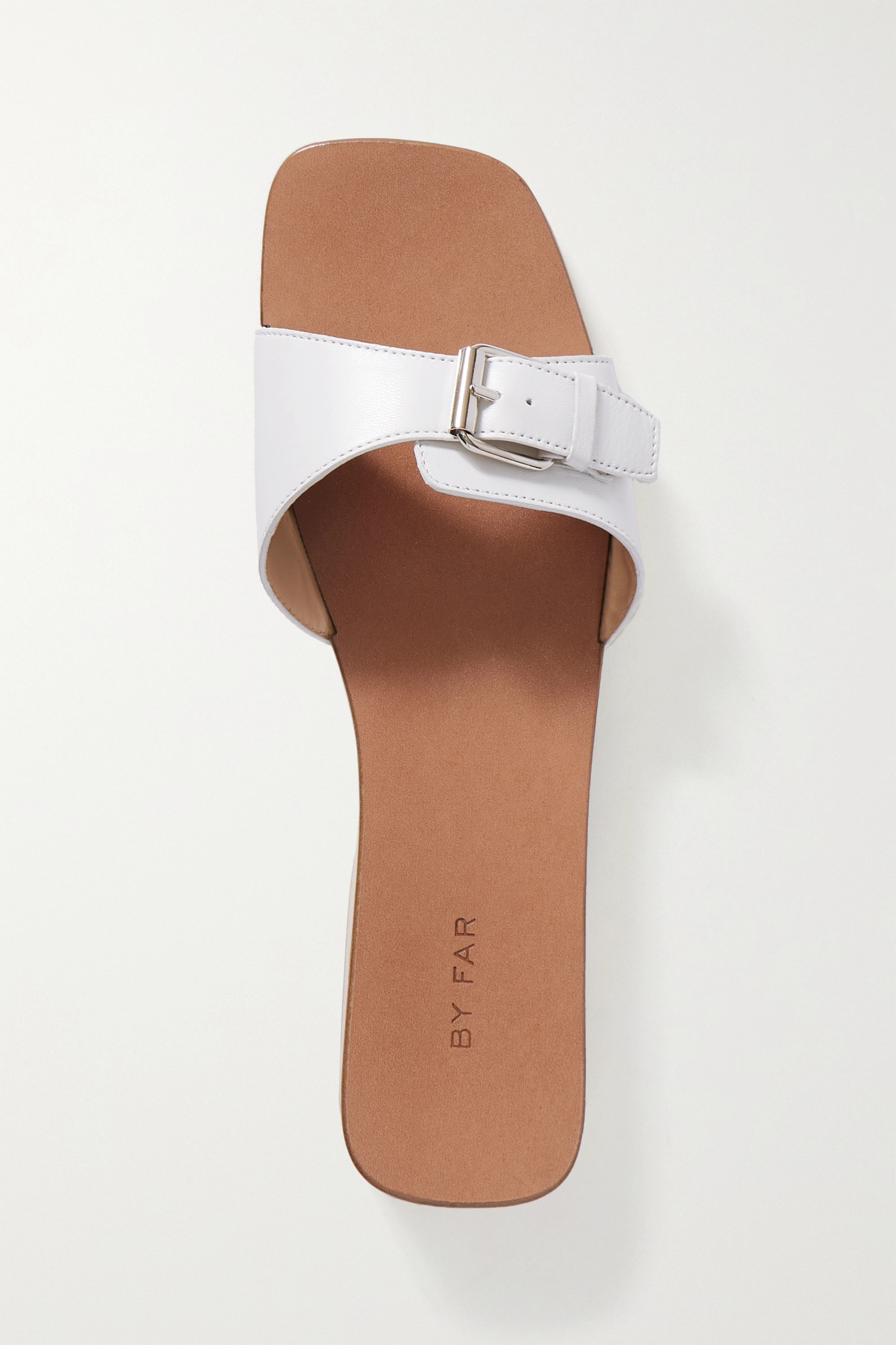 BY FAR Buckled leather slides