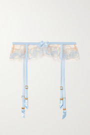 Agent Provocateur Lindie bead-embellished embroidered tulle suspender belt