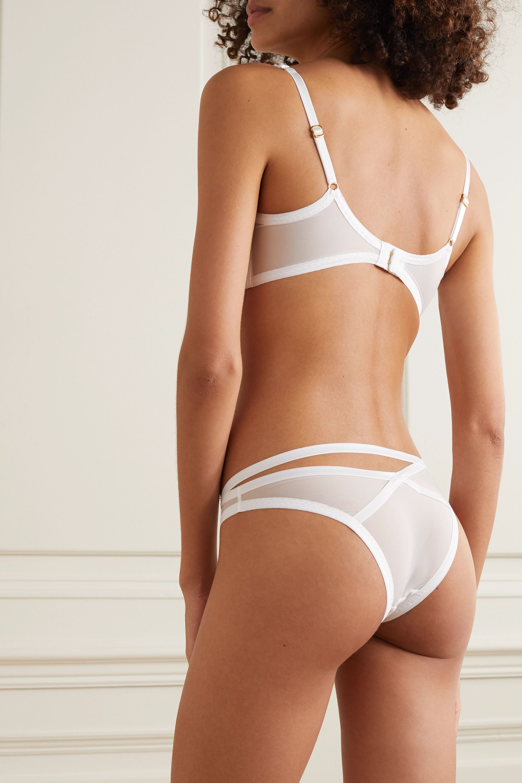 Agent Provocateur Joan cutout satin-trimmed stretch-tulle underwired soft-cup bra