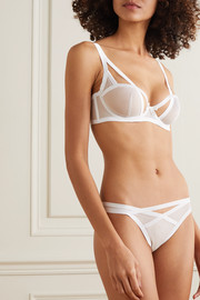 Agent Provocateur Joan cutout satin-trimmed stretch-tulle briefs