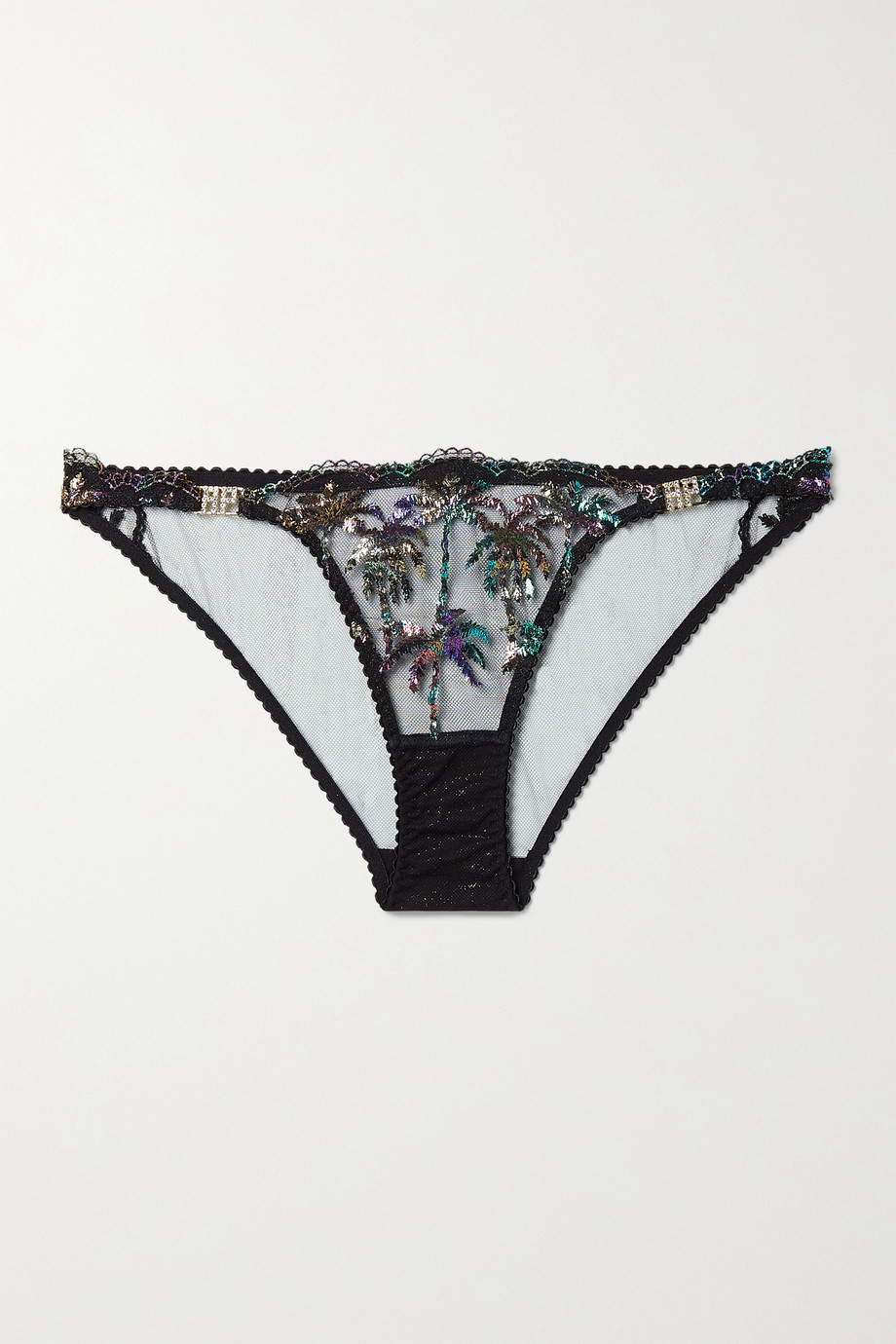 Agent Provocateur Cali crystal-embellished metallic embroidered tulle briefs