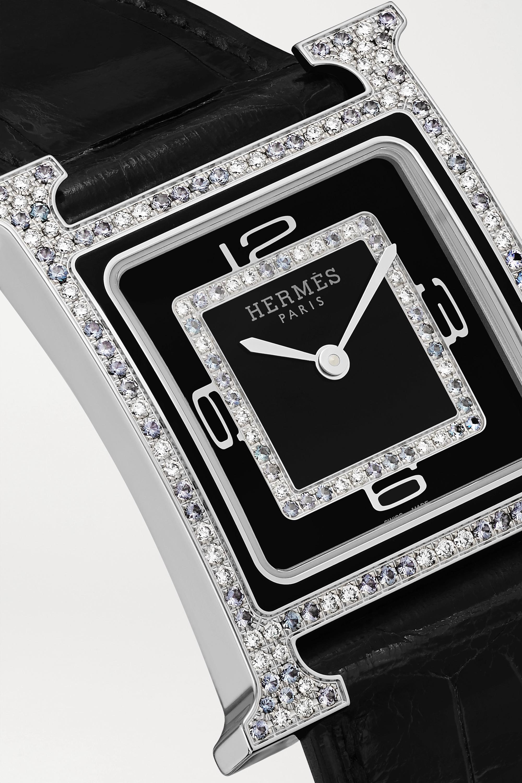 Hermès Timepieces Heure H Bijoux de Soir 21mm 18-karat white gold, alligator, diamond and spinel watch