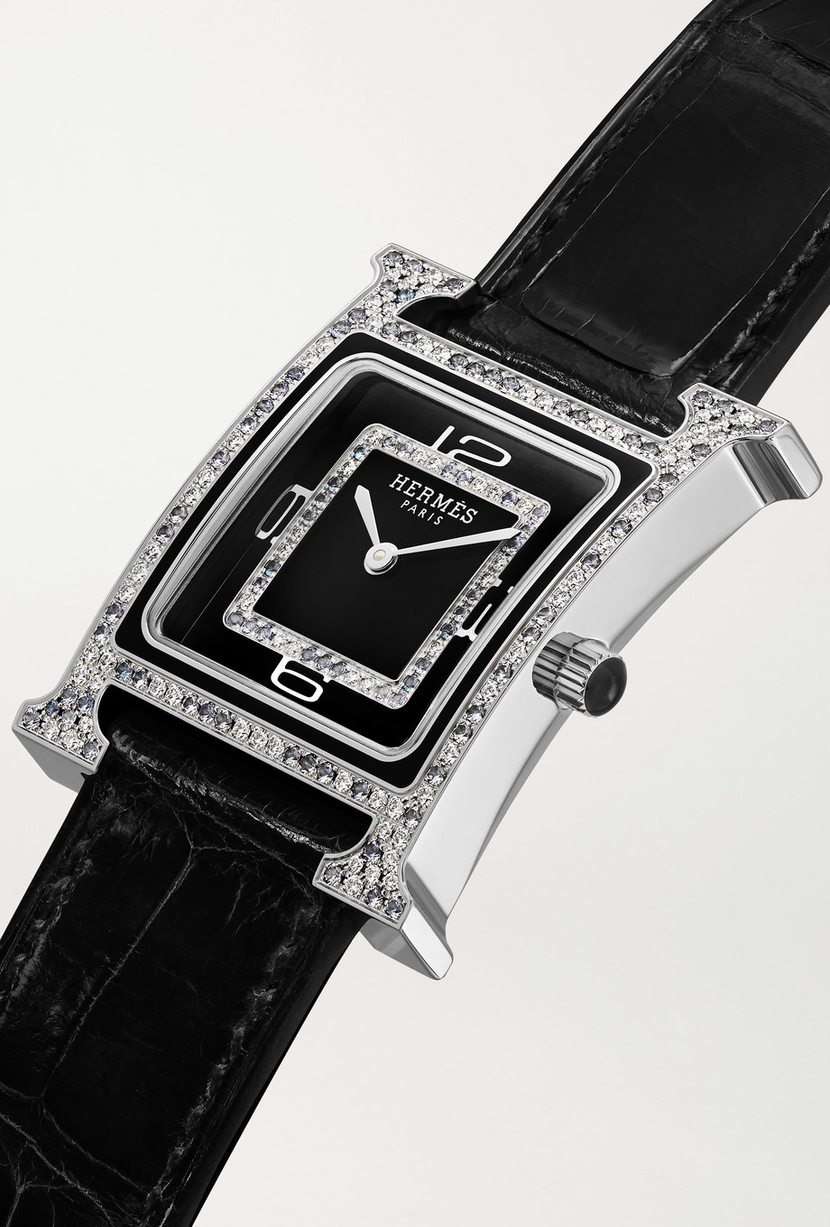 Hermès Timepieces Heure H Bijoux de Soir 21mm 18-karat white gold, alligator, diamond and spinel watch