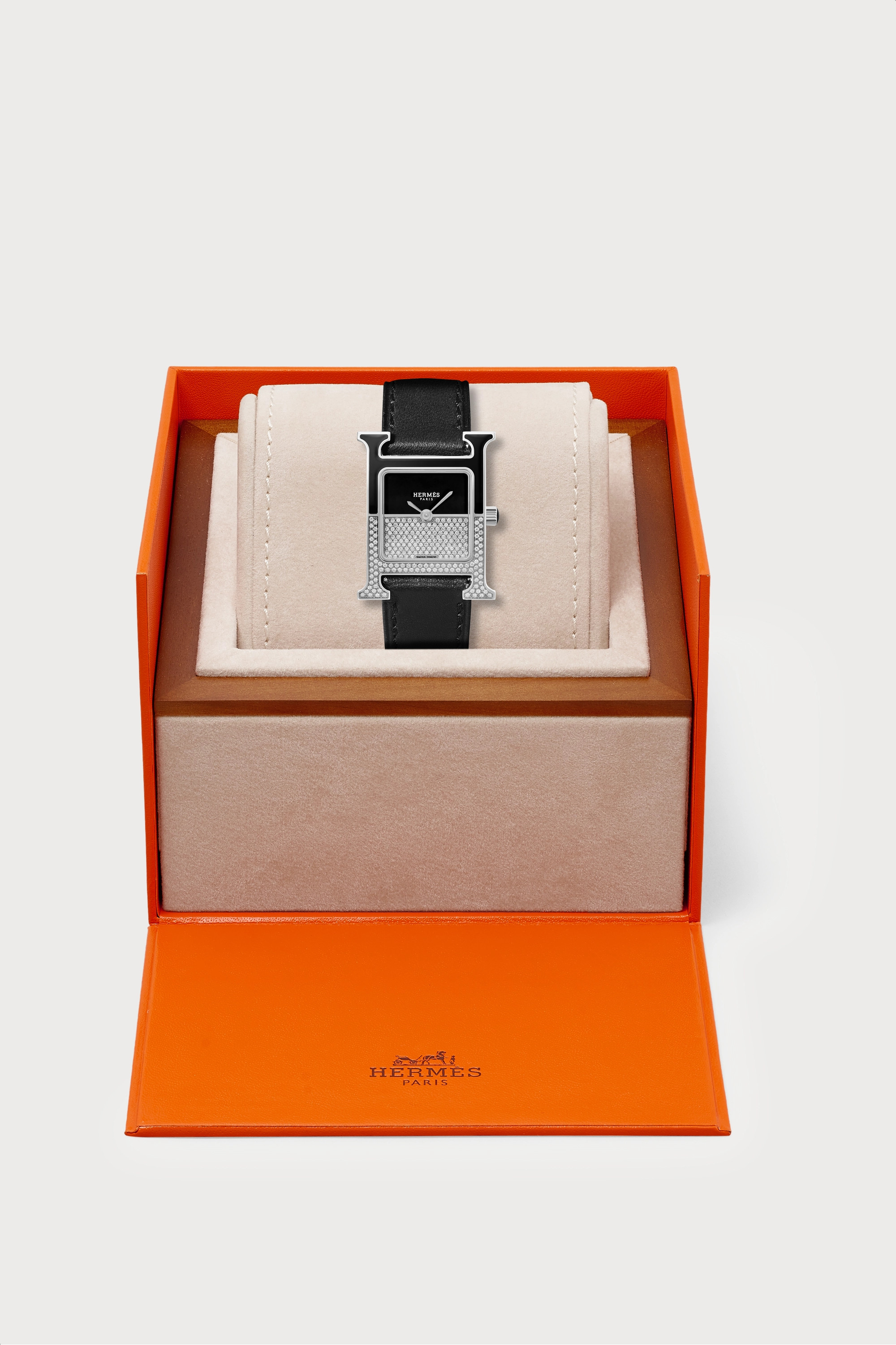 Hermès Timepieces Heure H Double Jeu 21mm small stainless steel, lacquer, leather and diamond watch