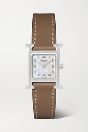 Hermès Timepieces Heure H 21mm small stainless steel, leather, diamond and mother-of-pearl watch