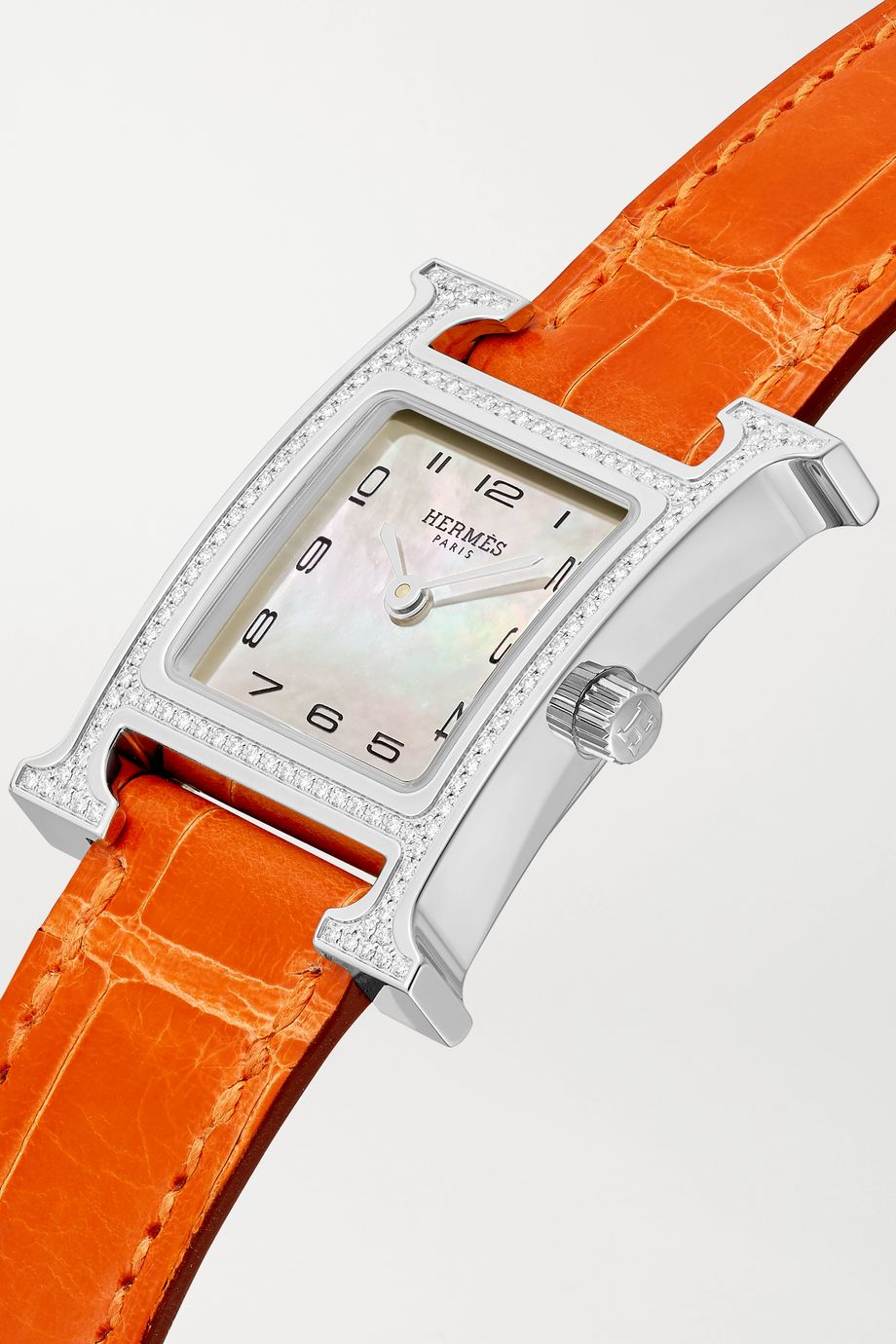 Hermès Timepieces Heure H 21mm small stainless steel, alligator, diamond and mother-of-pearl watch