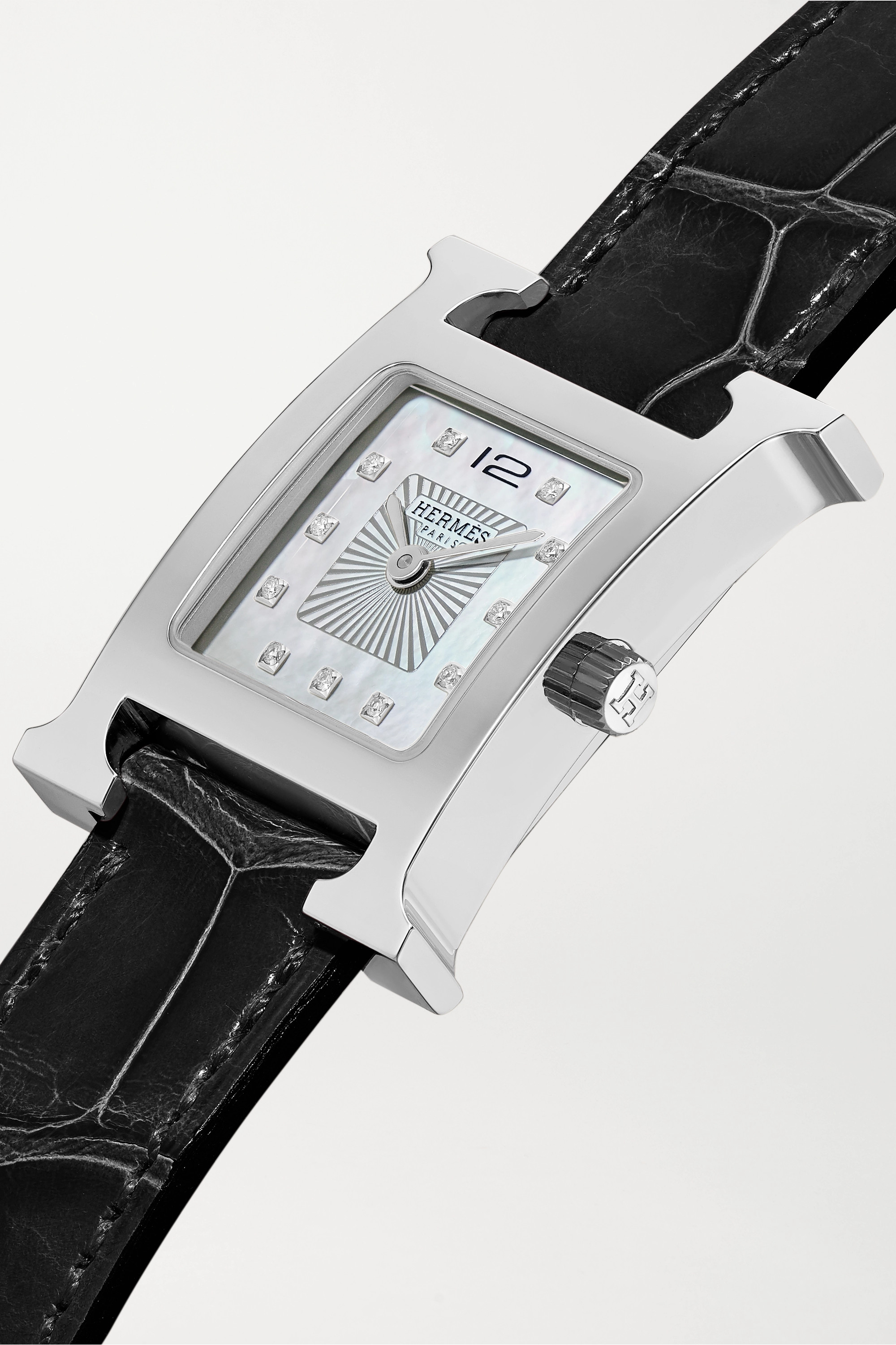 Hermès Timepieces Heure H 26mm stainless steel, alligator, diamond and mother-of-pearl watch