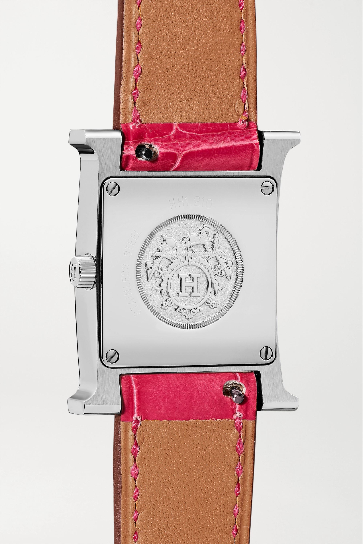 Hermès Timepieces Montre en acier inoxydable, diamants et nacre à bracelet en alligator Heure H Small 21 mm
