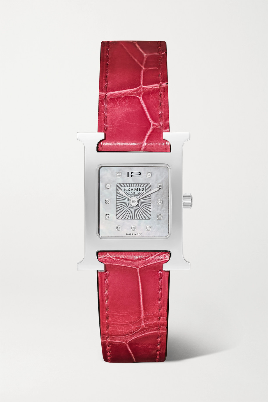 Hermès Timepieces Heure H 21 mm kleine Uhr aus Edelstahl mit Diamanten, Perlmutt und Alligatorlederarmband