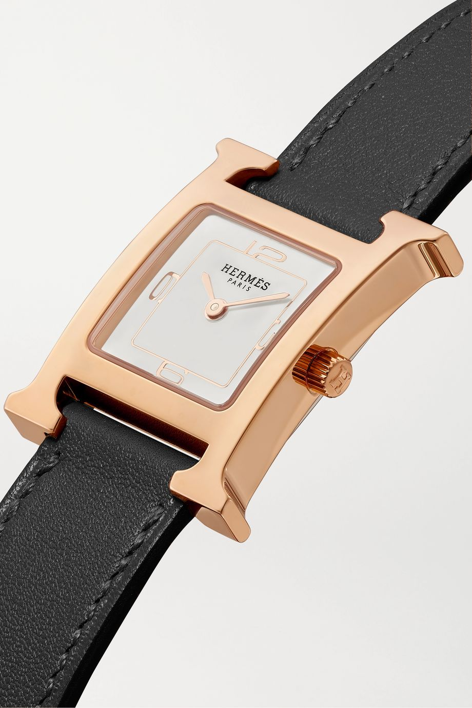 Hermès Timepieces Heure H Double Tour 21mm small rose gold-plated and leather watch