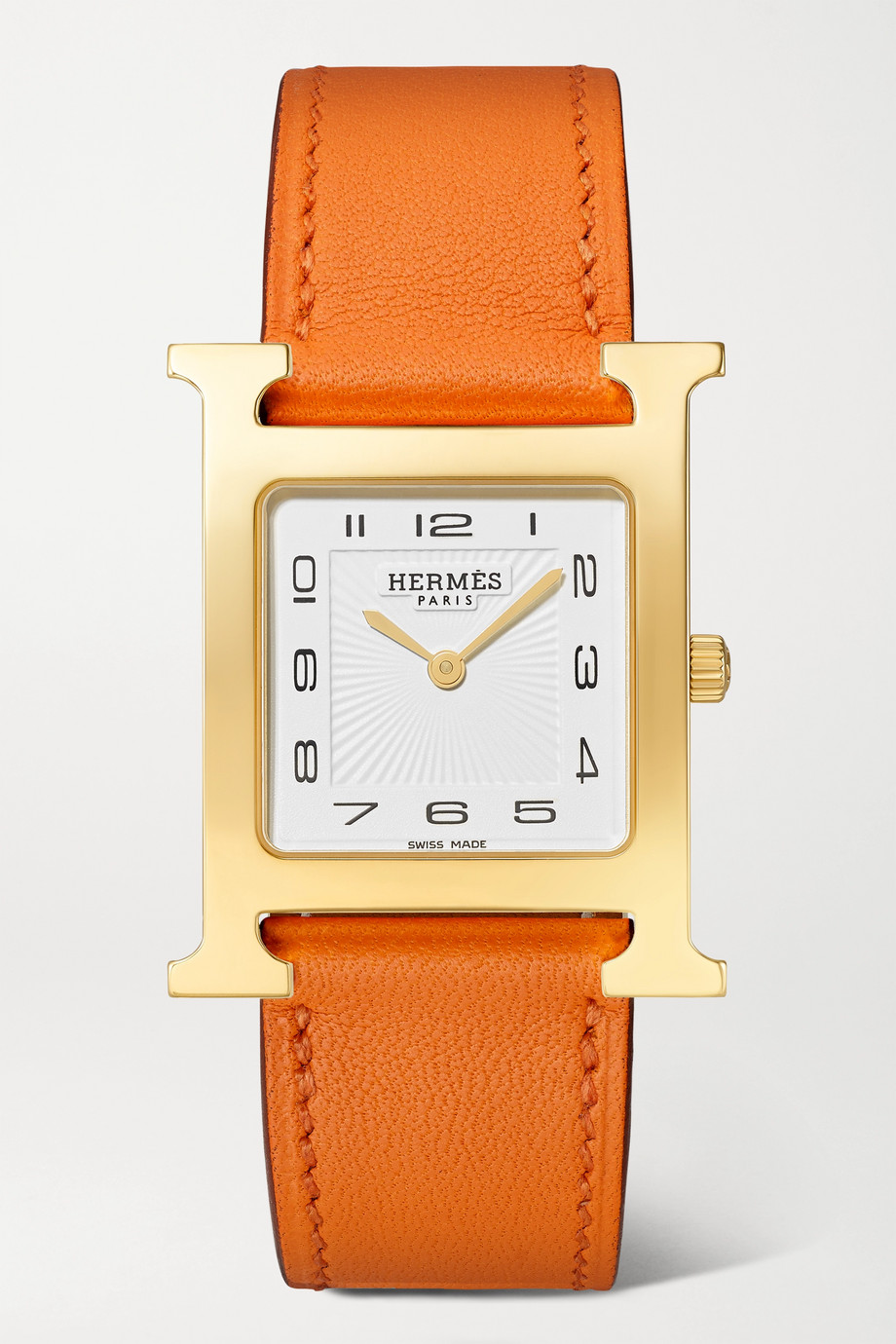 Hermès Timepieces Heure H 26mm medium gold-plated and leather watch