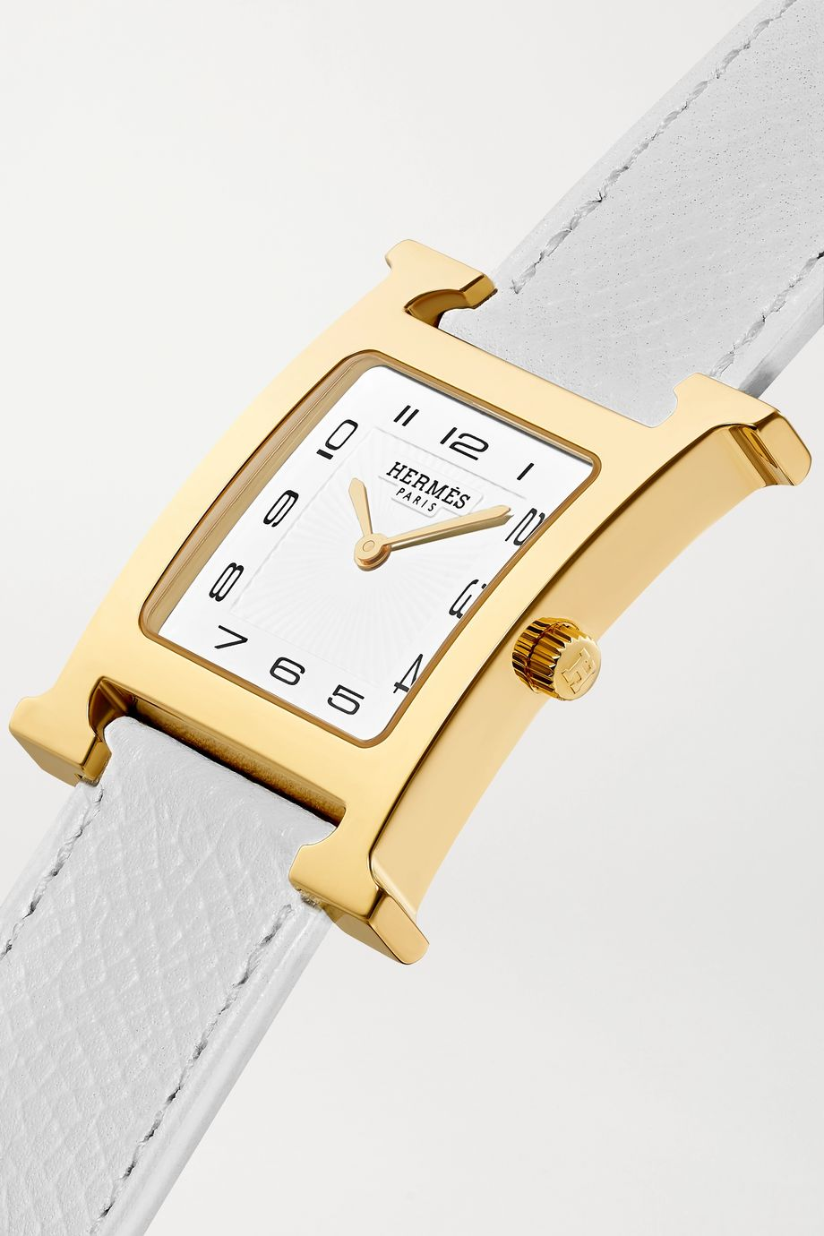 Hermès Timepieces Heure H 26mm medium gold-plated and textured-leather watch