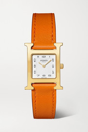 Hermès Timepieces Heure H 21mm small gold-plated and leather watch