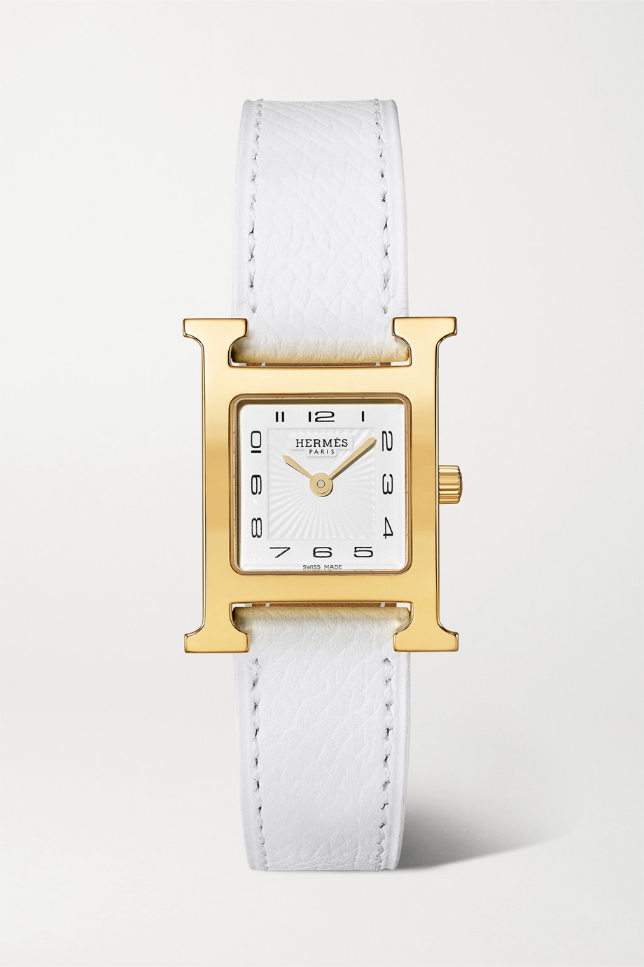Hermès Timepieces Heure H 21mm small gold-plated and textured-leather watch