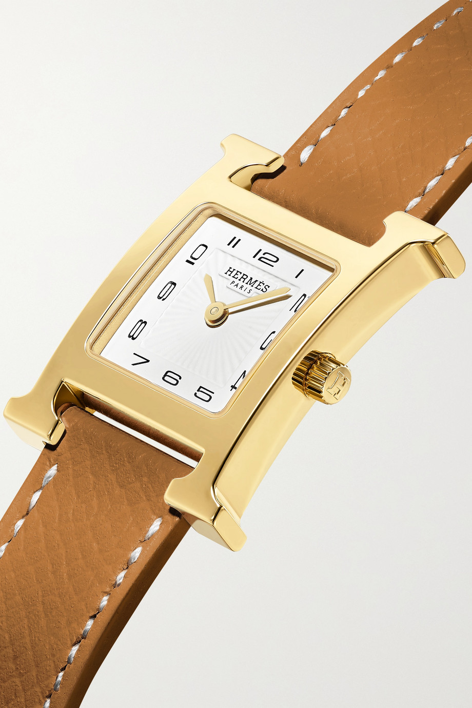 Hermès Timepieces Heure H 21 mm kleine vergoldete Uhr mit Armband aus strukturiertem Leder