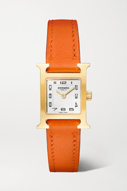 Hermès Timepieces Heure H 17.2mm very small gold-plated and leather watch