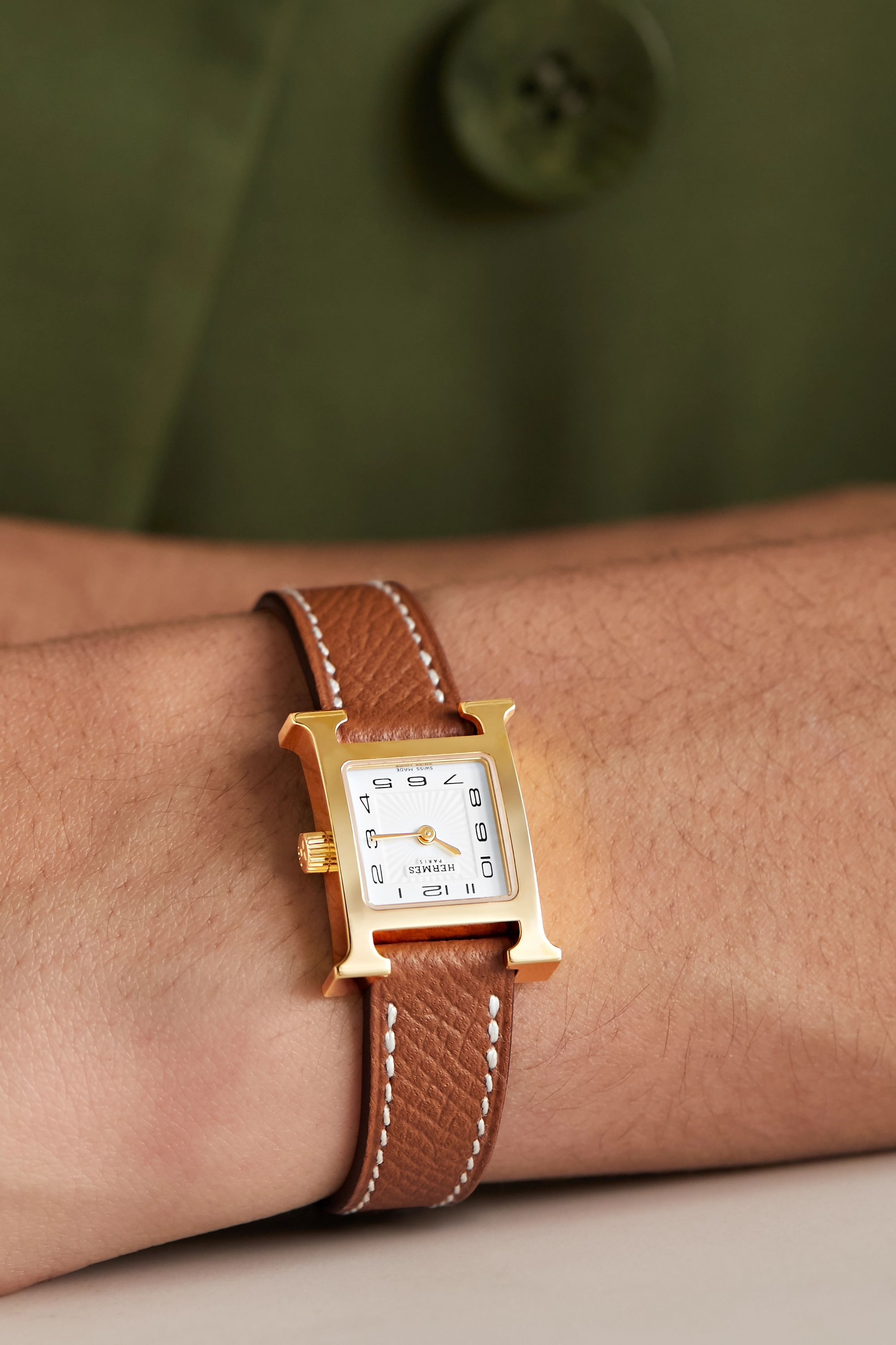 Hermès Timepieces Heure H 17.2mm very small gold-plated and textured-leather watch