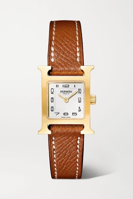 Light brown Heure H 17.2mm very small gold-plated and textured-leather watch | Hermès Timepieces PPx7lW