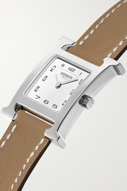 Hermès Timepieces Heure H 21 mm kleine Uhr aus Edelstahl mit Lederarmband