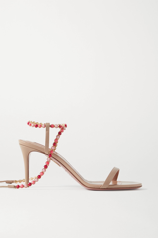 Aquazzura Livia 75 beaded leather sandals