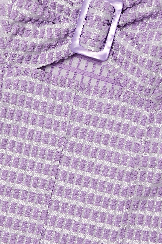 Lisa Marie Fernandez Cutout metallic seersucker bandeau swimsuit