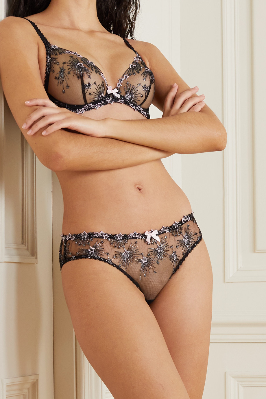 Agent Provocateur Kaylie metallic embroidered tulle briefs