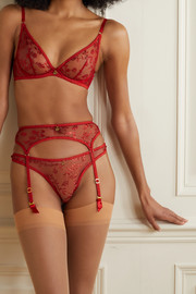 Agent Provocateur Zadi metallic embroidered tulle thong