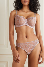 Katherine Hamilton Vivian satin-trimmed embroidered stretch-tulle briefs