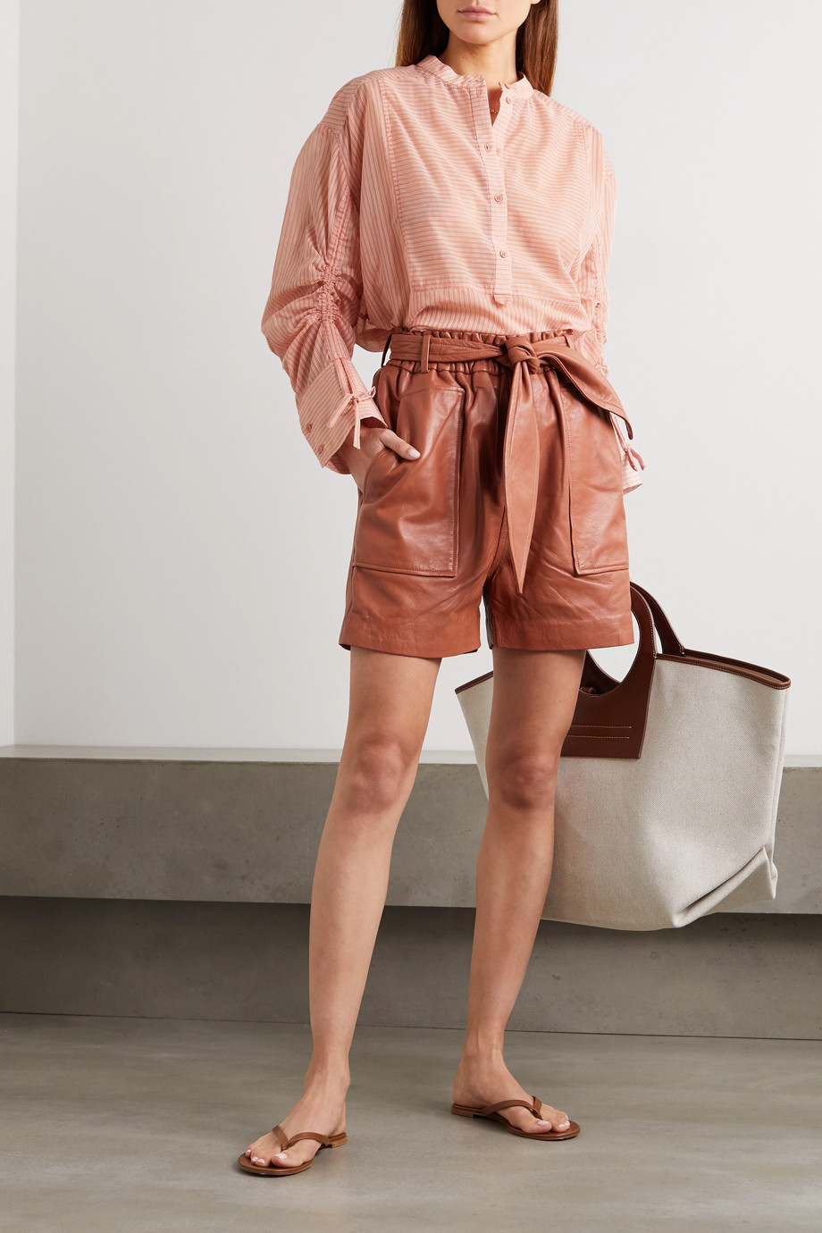 MUNTHE Meanwhile belted leather shorts