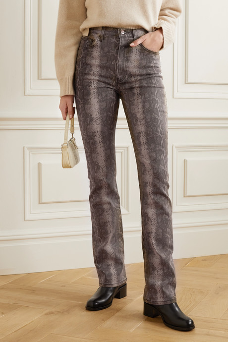 + NET SUSTAIN Cindy snake-print high-rise bootcut jeans